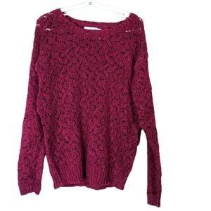 Justice Sparkly Knit Crew Sweater Burgundy 8